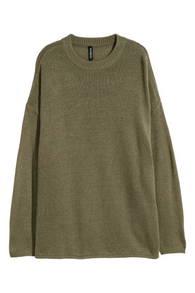 Knitted jumper - Khaki green - Ladies | H&M CN