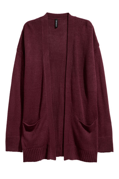 Knitted cardigan - Burgundy -  | H&M