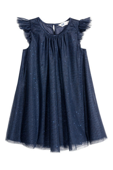 Glittery tulle dress - Dark blue/Glittery - Kids | H&M