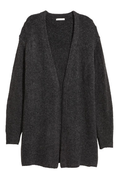 Knitted wool-blend cardigan - Dark grey - Ladies | H&M