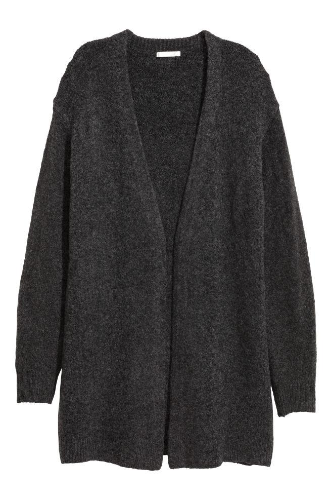1233c265 Strikket cardigan i uldmix - Mørkegrå - DAME | H&M ...