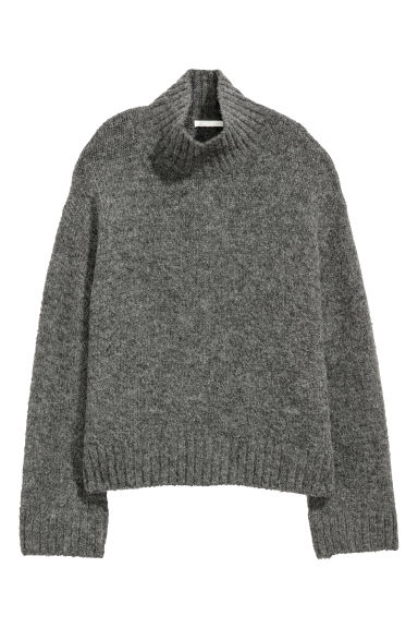 Knitted wool-blend jumper - Dark grey -  | H&M
