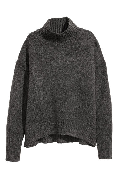 Knitted polo-neck jumper - Dark grey marl - Ladies | H&M