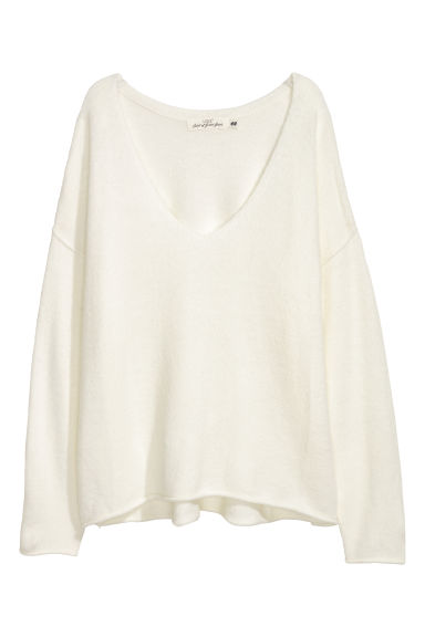 V-neck jumper - White -  | H&M IE