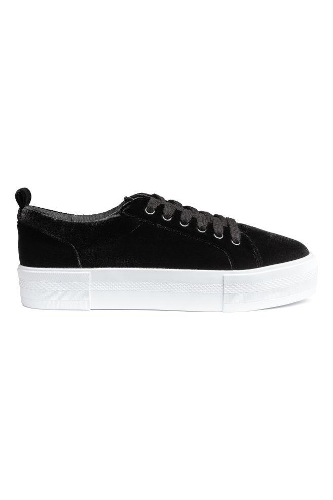 a4669c02f742 Platform Sneakers - Black velvet - Ladies