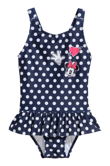 Frill-trimmed swimsuit - Dark blue/Minnie Mouse - Kids | H&M CN