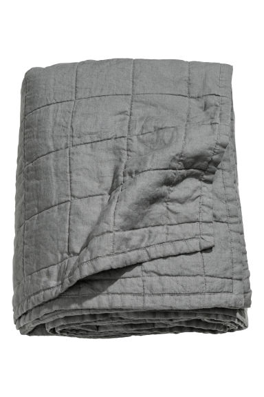 Washed linen bedspread - Grey - Home All | H&M GB