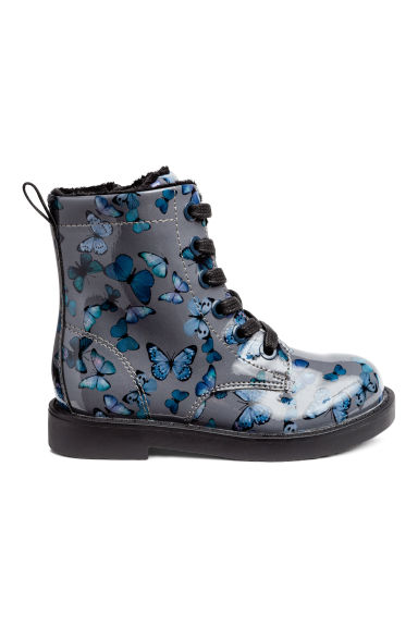 Fleece-lined boots - Dark grey/Butterflies - Kids | H&M CN