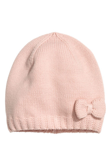 Bonnet en maille - Rose poudré -  | H&M BE