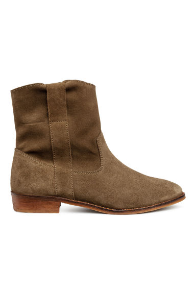 Suede boots - Dark olive green - Ladies | H&M CN