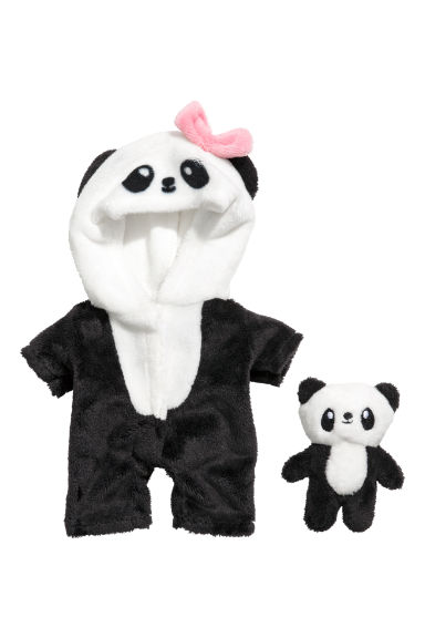 Soft toy panda costume - Black/Panda -  | H&M