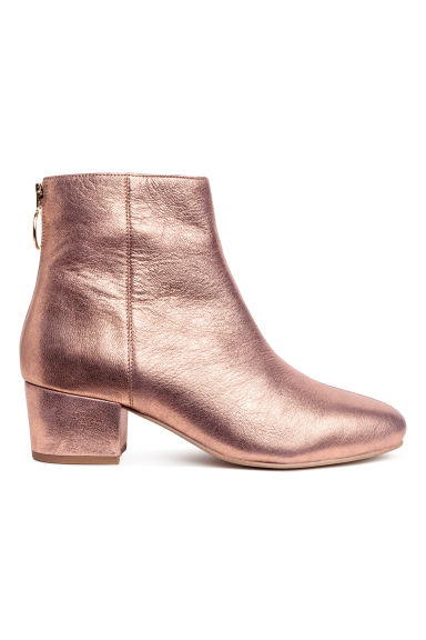 Leather ankle boots - Rose gold-coloured/Metallic - Ladies | H&M CN