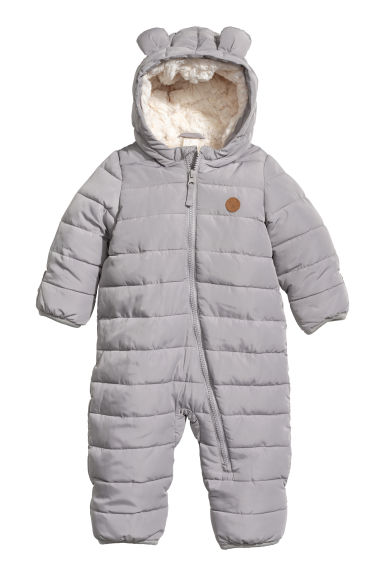 Pile-lined all-in-one suit - Grey - Kids | H&M CN