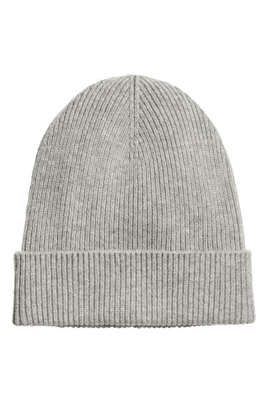 Ribbed wool hat - Grey marl -  | H&M