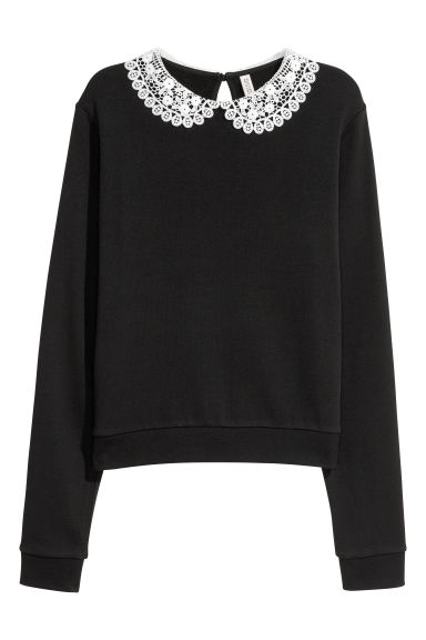 Lace-collared sweatshirt - Black -  | H&M IE