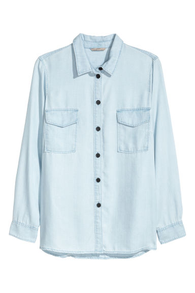 H&M+ Lyocell denim shirt - Light denim blue -  | H&M