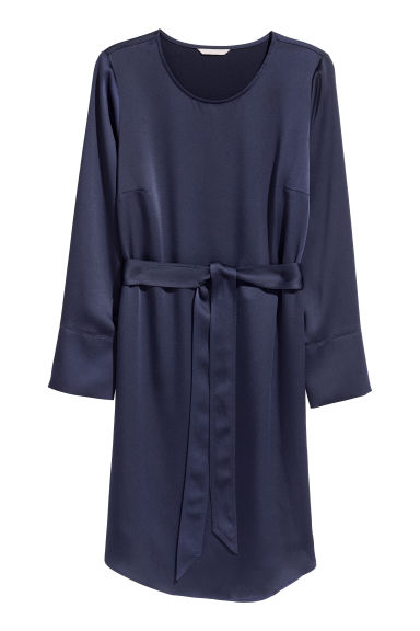 H&M+ Crêpe dress - Dark blue - Ladies | H&M CN
