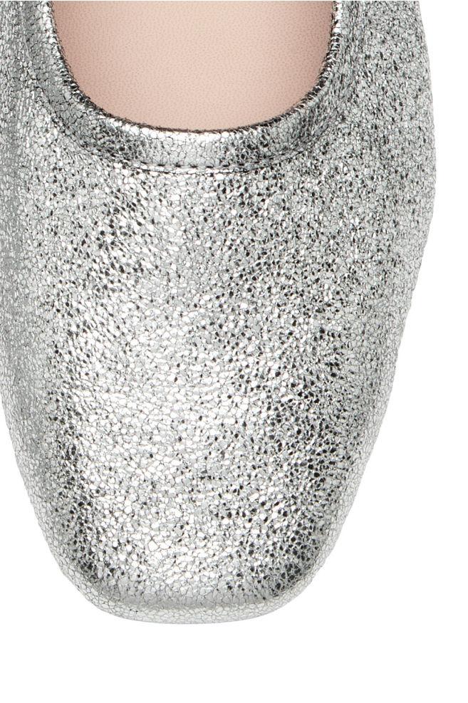 eb5b2108ae86 ... Ballerinasko med hæl - Sølv - DAME