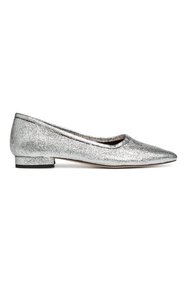 Ballet pumps with a heel - Silver -  | H&M