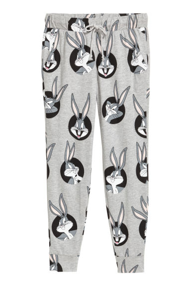 Patterned joggers - Light grey/Looney Tunes - Ladies | H&M