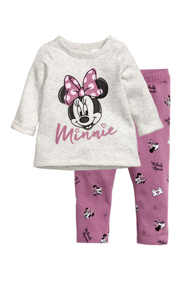 Sweatshirt and leggings - Light grey marl/Minnie Mouse - Kids | H&M CN