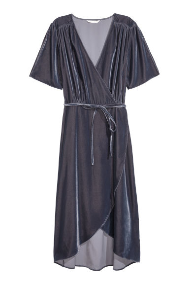 Velour dress - Pigeon blue -  | H&M