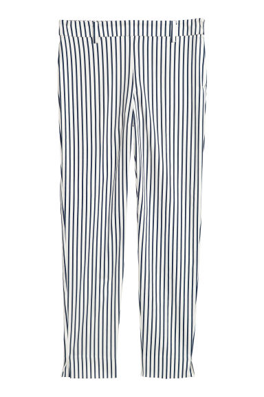 Cigarette trousers - White/Blue striped - Ladies | H&M