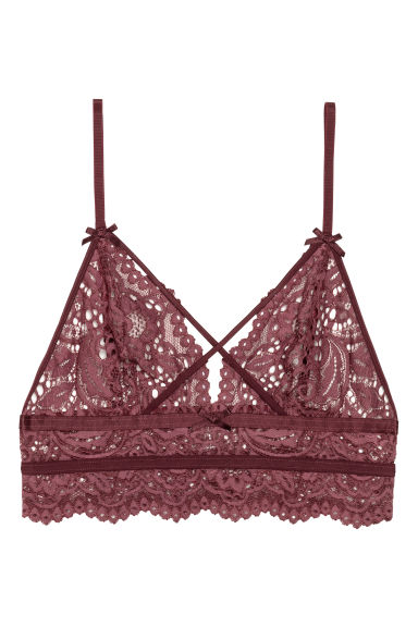 Lace bralette - Burgundy -  | H&M IE