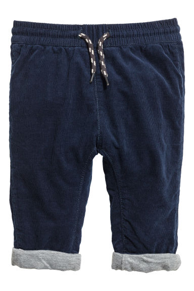 Fully lined corduroy trousers - Dark blue -  | H&M GB