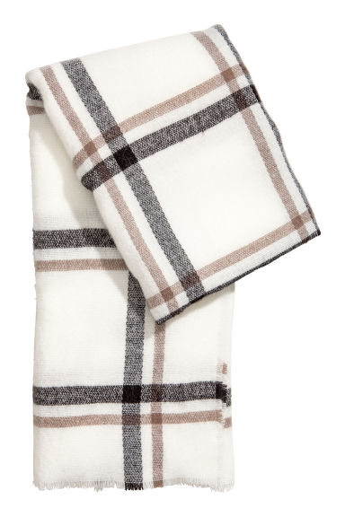 Large scarf - White/Checked - Ladies | H&M