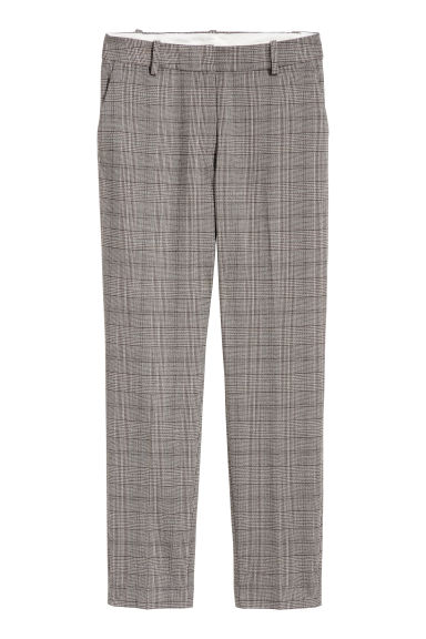 Cigarette trousers - Grey/Dogtooth - Ladies | H&M
