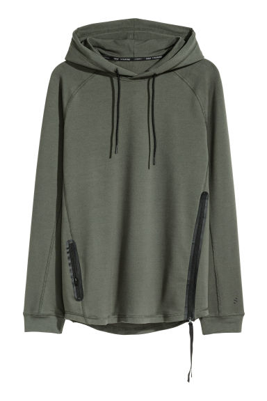 Hooded sports top - Khaki green -  | H&M IE
