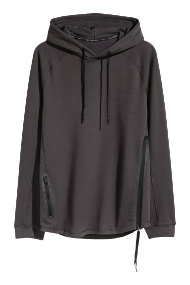 Hooded sports top - Black -  | H&M