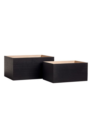 2-pack small wooden boxes - Black/Natural -  | H&M GB