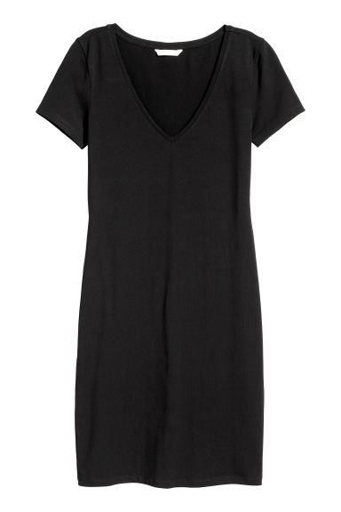 Short jersey dress - Black - Ladies | H&M GB