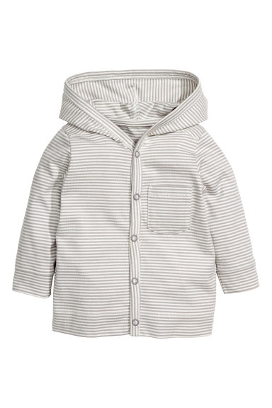 Jersey hooded cardigan - Light grey/Striped - Kids | H&M