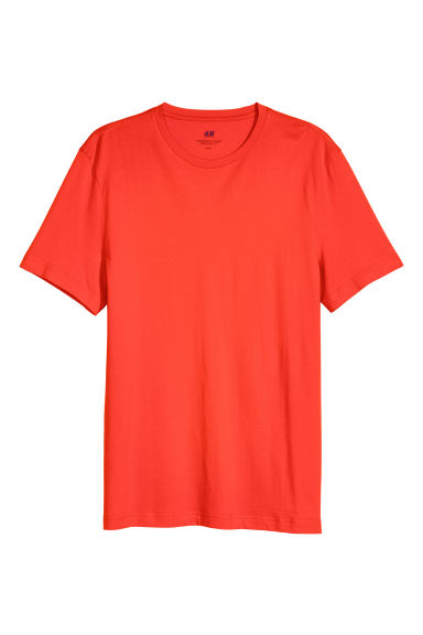 Cotton T-shirt Regular fit - Bright red - Men | H&M CN