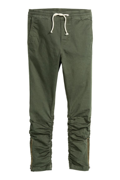 Pull-on trousers - Dark khaki green - Kids | H&M CN