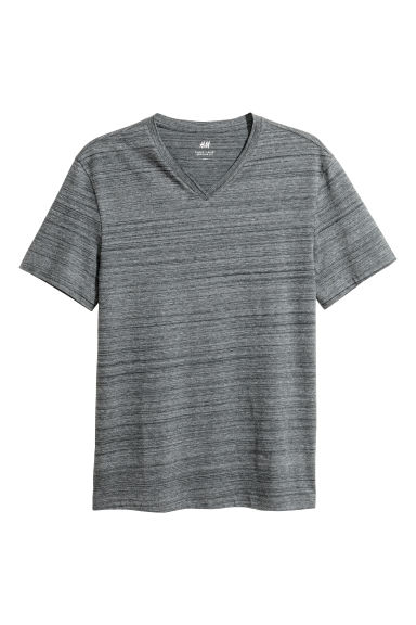 V-neck T-shirt Regular fit - Dark grey -  | H&M CN