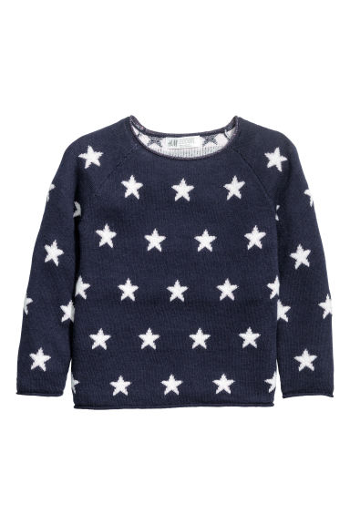 Jacquard-knit jumper - Dark blue/Stars -  | H&M