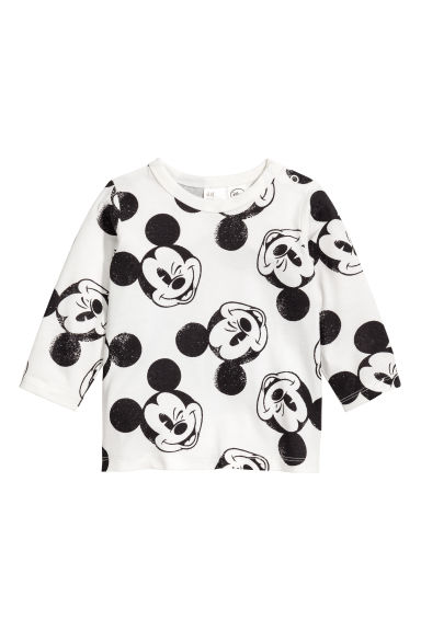 Printed long-sleeved T-shirt - Natural white/Mickey Mouse -  | H&M CN