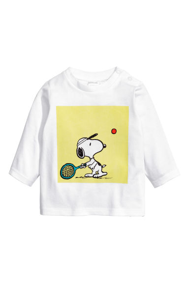 Printed long-sleeved T-shirt - White/Snoopy -  | H&M