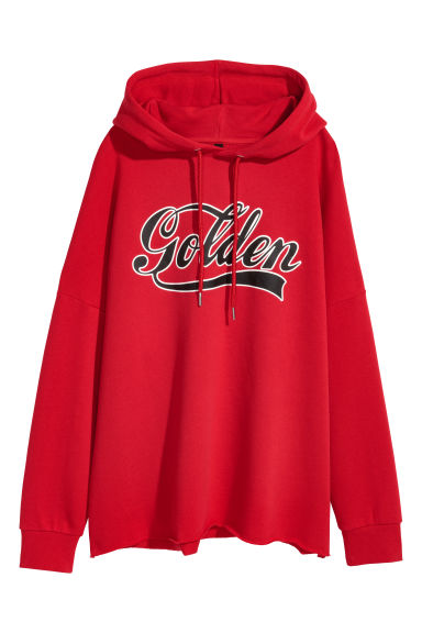 Printed hooded top - Red -  | H&M
