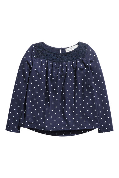 Jersey top with lace - Dark blue/Hearts -  | H&M