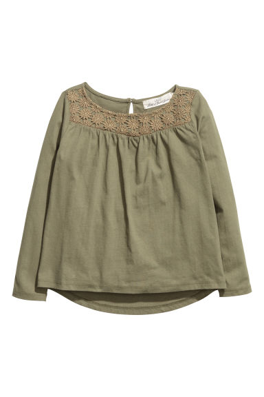 Top in jersey con pizzo - Verde kaki scuro -  | H&M CH