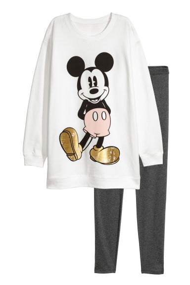 Loungeset sweater en legging - Wit/Mickey Mouse - DAMES | H&M NL