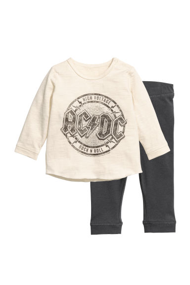 Top and leggings - Natural white/AC/DC - Kids | H&M