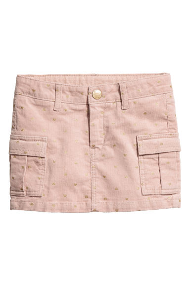 Corduroy cargo skirt - Powder pink/Gold-colour hearts -  | H&M CN