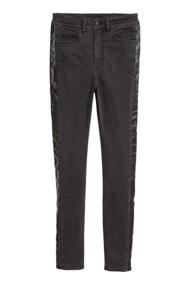 Broek van keper - Slim fit - Zwart/washed out -  | H&M BE
