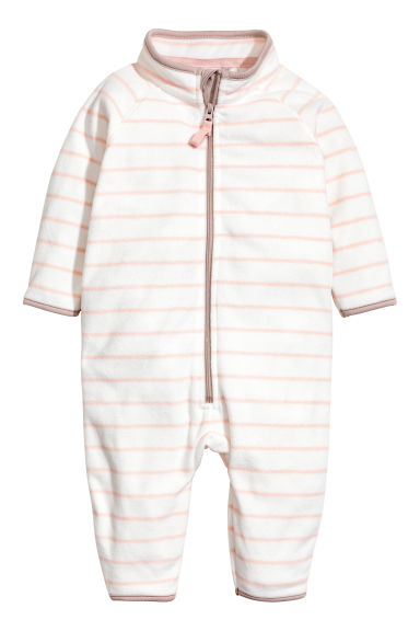 Fleece all-in-one suit - White/Light pink/Striped -  | H&M CN